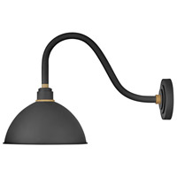 Foundry 1 Light 17 inch Textured Black with Brass Accents Outdoor Wall Mount