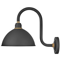 Hinkley 10564TK Foundry 1 Light 17 inch Textured Black with Brass Accents Outdoor Wall Mount