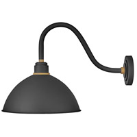Hinkley 10645TK Foundry 1 Light 18 inch Textured Black with Brass Accents Outdoor Wall Mount