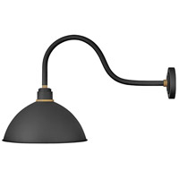 Hinkley 10655TK Foundry 1 Light 20 inch Textured Black with Brass, Textured Black Accents Outdoor Wall Mount