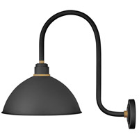 Hinkley 10675TK Foundry 1 Light 24 inch Textured Black with Brass Accents Outdoor Wall Mount