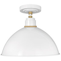 Hinkley 10685GW Foundry Dome 1 Light 16 inch Gloss White/Brass Outdoor Hanging Light alternative photo thumbnail