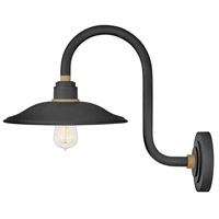 Hinkley 10766TK Foundry 1 Light 17 inch Textured Black with Brass Accents Outdoor Wall Mount