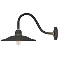 Hinkley 10847TK Foundry 1 Light 13 inch Textured Black with Brass Accents Outdoor Wall Mount