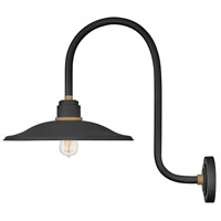 Hinkley 10877TK Foundry 1 Light 24 inch Textured Black with Brass Accents Outdoor Wall Mount