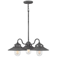 Hinkley 1113DZ Atwell 3 Light 24 inch Aged Zinc Outdoor Chandelier, Open Air