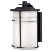 Ledgewood 1 Light 11 inch Vintage Black Outdoor Wall Lantern in Cased Opal, Incandescent