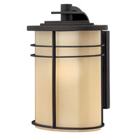 Hinkley Lighting Ledgewood 1 Light Outdoor Wall Lantern in Museum Bronze with Champagne Inside Etched Glass 1120MR-LED