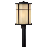 Hinkley 1121MR-LED Ledgewood 1 Light 21 inch Museum Bronze Post Lantern in Champagne Inside-Etched, Champagne Inside Etched Glass