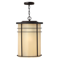 Hinkley Lighting Ledgewood 1 Light Outdoor Hanging Lantern in Museum Bronze with Champagne Inside Etched Glass 1122MR-LED