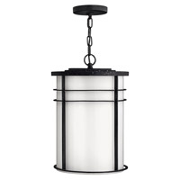 Hinkley Lighting Ledgewood 1 Light Outdoor Hanging Lantern in Vintage Black with Cased Opal Glass 1122VK-LED