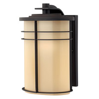 Hinkley Lighting Ledgewood 1 Light Outdoor Wall Lantern in Museum Bronze with Champagne Inside Etched Glass 1124MR-LED