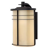 Ledgewood 1 Light 16 inch Museum Bronze Outdoor Wall Lantern in Champagne Inside-Etched, Champagne Inside Etched Glass