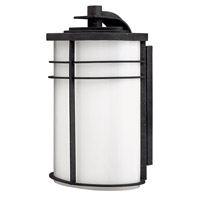 Hinkley Lighting Ledgewood 1 Light Outdoor Wall Lantern in Vintage Black with Cased Opal Glass 1125VK-LED