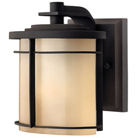 Hinkley 1126MR Ledgewood 1 Light 7 inch Museum Bronze Outdoor Mini Wall Mount in Champagne Inside-Etched Incandescent