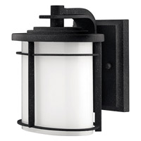Ledgewood 1 Light 7 inch Vintage Black Outdoor Wall in Cased Opal, GU24