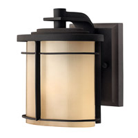 Hinkley Lighting Ledgewood 1 Light Outdoor Wall Lantern in Museum Bronze with Champagne Inside Etched Glass 1126MR-LED