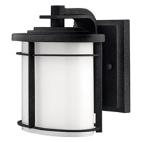 Hinkley Lighting Ledgewood 1 Light Outdoor Wall Lantern in Vintage Black with Cased Opal Glass 1126VK-LED
