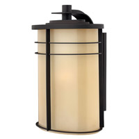 Hinkley Lighting Ledgewood 1 Light Outdoor Wall Lantern in Museum Bronze with Champagne Inside Etched Glass 1129MR-LED