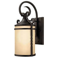 Hinkley 1140OL Casa 1 Light 13 inch Olde Black Outdoor Wall Mount in Incandescent, Light Etched Amber