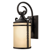 Hinkley Lighting Casa 1 Light Outdoor Wall Lantern in Olde Black with Light Etched Amber Glass 1140OL-LED