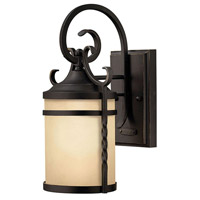 Hinkley 1144OL Casa 1 Light 18 inch Olde Black Outdoor Wall Mount in Incandescent, Light Etched Amber