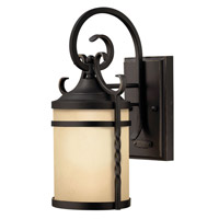 Hinkley Lighting Casa 1 Light Outdoor Wall Lantern in Olde Black with Light Etched Amber Glass 1144OL-LED
