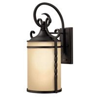 Hinkley Lighting Casa 1 Light Outdoor Wall Lantern in Olde Black with Light Etched Amber Glass 1145OL-LED