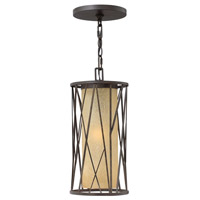 Hinkley 1152RB-GU24 Elm 1 Light 8 inch Regency Bronze Outdoor Hanging in GU24, Amber Etched Glass photo thumbnail