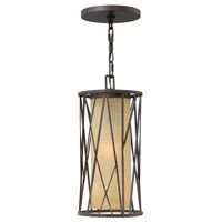 Elm 1 Light 8 inch Regency Bronze Outdoor Hanging Lantern in LED, Distressed Etched Amber Glass