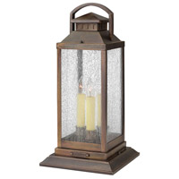 Hinkley 1187SN Revere 3 Light 20 inch Sienna Outdoor Pier Mount, Clear Seedy Glass
