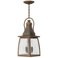 Hinkley 1202SN Montauk 2 Light 7 inch Sienna Outdoor Hanging Light in Incandescent, Clear Seedy Glass