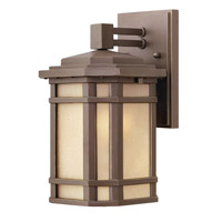 Hinkley 1270OZ-GU24 Cherry Creek 1 Light 11 inch Oil Rubbed Bronze Outdoor Wall in Amber Linen, GU24