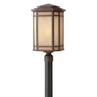 Hinkley 1271OZ-GU24 Cherry Creek 1 Light 22 inch Oil Rubbed Bronze Post Lantern in Amber Linen, GU24 photo thumbnail