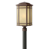 Hinkley 1271OZ Cherry Creek 1 Light 22 inch Oil Rubbed Bronze Post Lantern in Amber Linen, Incandescent, Post Sold Separately