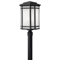 Cherry Creek 1 Light 22 inch Vintage Black Post Lantern in White Linen, GU24