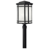 Hinkley 1271VK-LED Cherry Creek 1 Light 22 inch Vintage Black Post Lantern in White Linen, LED, Post Sold Separately