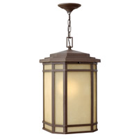 Hinkley 1272OZ Cherry Creek 1 Light 12 inch Oil Rubbed Bronze Outdoor Hanging Lantern in Amber Linen, Incandescent