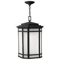 Cherry Creek LED 12 inch Vintage Black Outdoor Hanging Lantern in White Linen