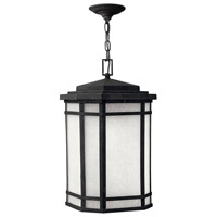 Cherry Creek 1 Light 12 inch Vintage Black Outdoor Hanging Lantern in White Linen, Incandescent