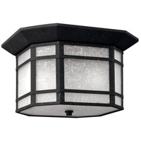 Cherry Creek 2 Light 12 inch Vintage Black Outdoor Flush Lantern in White Linen, Incandescent