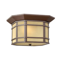 Hinkley 1273OZ-GU24 Cherry Creek 2 Light 12 inch Oil Rubbed Bronze Outdoor Flush Lantern in Amber Linen, GU24, Amber Linen Glass