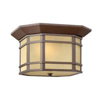 Hinkley 1273OZ-LED Cherry Creek 1 Light 12 inch Oil Rubbed Bronze Outdoor Flush Lantern in Amber Linen, LED, Amber Linen Glass