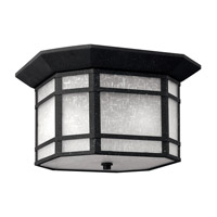 Cherry Creek 2 Light 12 inch Vintage Black Outdoor Flush Lantern in White Linen, GU24, White Linen Glass