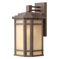 Hinkley 1274OZ-GU24 Cherry Creek 1 Light 15 inch Oil Rubbed Bronze Outdoor Wall in Amber Linen, GU24