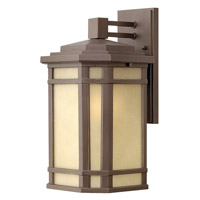 Hinkley 1274OZ Cherry Creek 1 Light 15 inch Oil Rubbed Bronze Outdoor Wall Lantern in Amber Linen, Incandescent