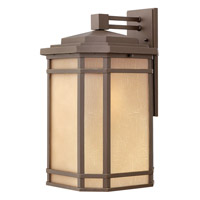 Hinkley 1275OZ-GU24 Cherry Creek 1 Light 21 inch Oil Rubbed Bronze Outdoor Wall in Amber Linen, GU24