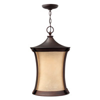 Thistledown 1 Light 13 inch Victorian Bronze Outdoor Hanging Lantern, Amber Linen Glass