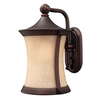 Hinkley 1284VZ-LED Thistledown 1 Light 16 inch Victorian Bronze Outdoor Wall Lantern, Amber Linen Glass