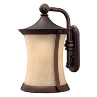 Hinkley Lighting Thistledown 1 Light Outdoor Wall Lantern in Victorian Bronze with Amber Linen Glass 1285VZ-LED